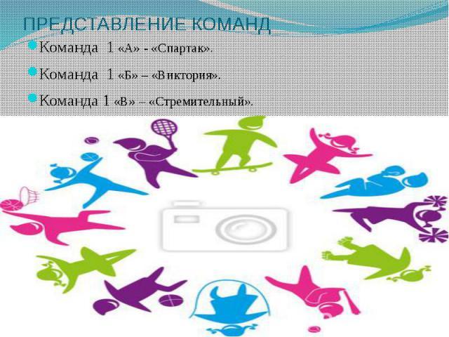 ПРЕДСТАВЛЕНИЕ КОМАНД Команда 1 «А» - «Спартак». Команда 1 «Б» – «Виктория». Команда 1 «В» – «Стремительный».