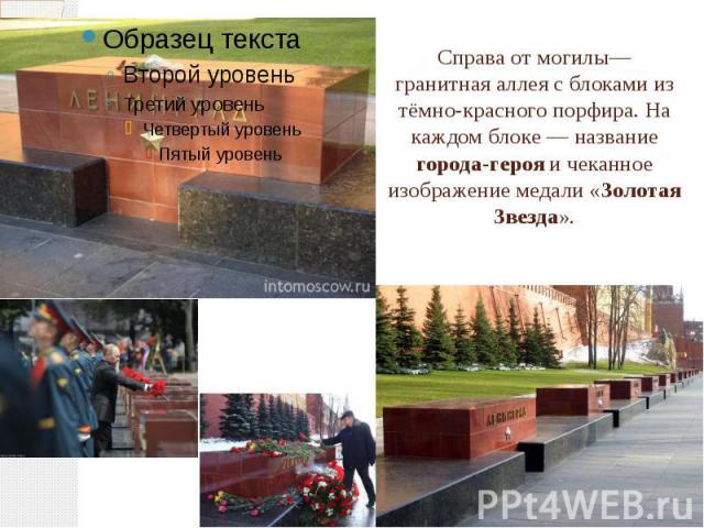 Справаот могилы— гранитная аллея с блоками из тёмно-красного порфира. На каждом блоке— название города-герояи чеканное изображение медали «Золотая Звезда».
