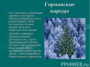 Ель считалась священным деревом, в котором обитает добрый дух леса, олицетворяла