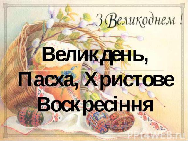 Великдень, Пасха, Христове Воскресіння