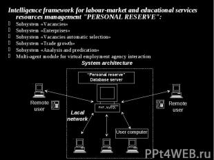 Intelligence framework for labour-market and educational services resources mana