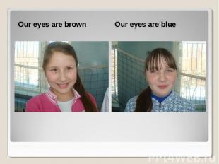 Our eyes are brown Our eyes are brown