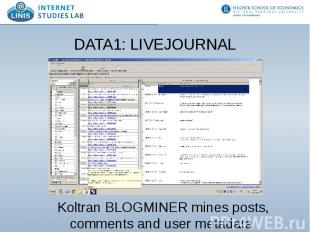 DATA1: LIVEJOURNAL Koltran BLOGMINER mines posts, comments and user metadata