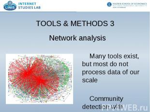 TOOLS & METHODS 3 Network analysis