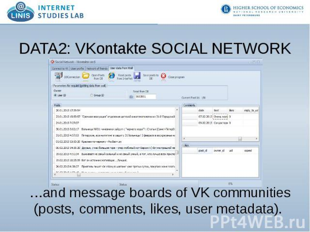 DATA2: VKontakte SOCIAL NETWORK …and message boards of VK communities (posts, comments, likes, user metadata).