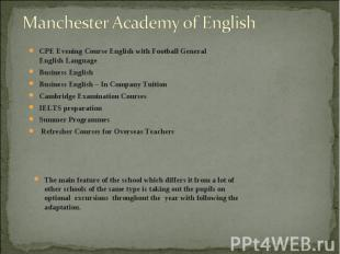 CPE Evening Course English with Football General English Language CPE Evening Co