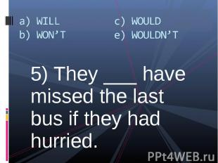 5) They ___ have missed the last bus if they had hurried. 5) They ___ have misse