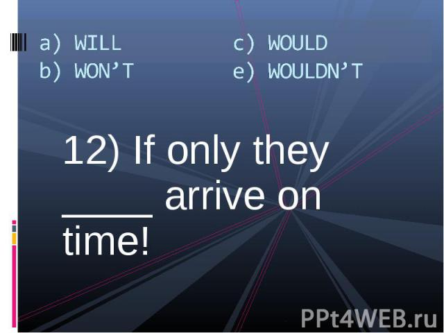 12) If only they ____ arrive on time! 12) If only they ____ arrive on time!