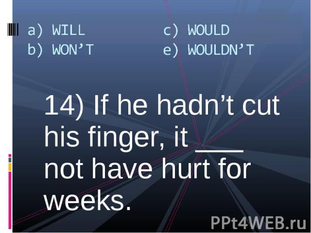 14) If he hadn't cut his finger, it ___ not have hurt for weeks. 14) If he hadn't cut his finger, it ___ not have hurt for weeks.