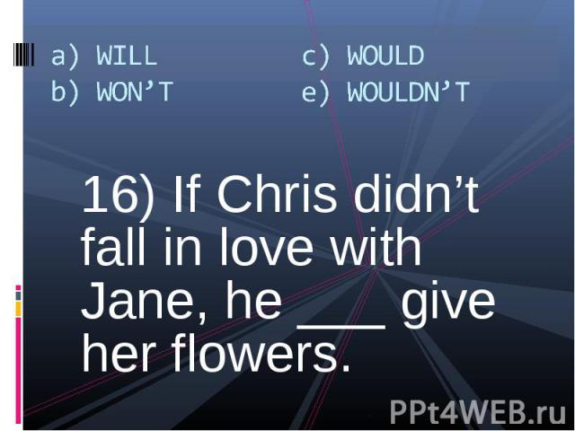 16) If Chris didn't fall in love with Jane, he ___ give her flowers. 16) If Chris didn't fall in love with Jane, he ___ give her flowers.