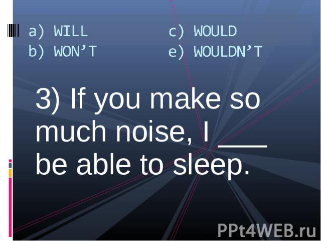 3) If you make so much noise, I ___ be able to sleep. 3) If you make so much noise, I ___ be able to sleep.