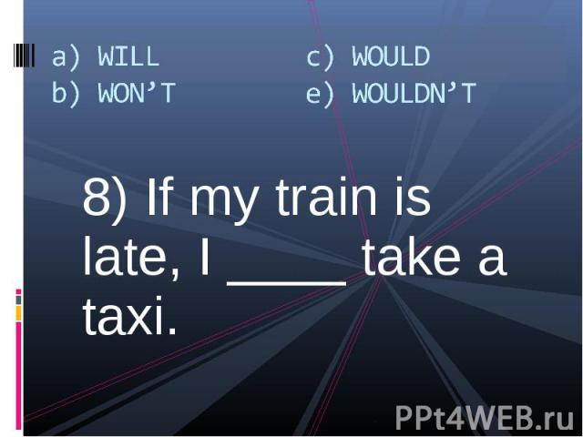 8) If my train is late, I ____ take a taxi. 8) If my train is late, I ____ take a taxi.