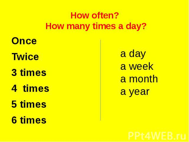 How often? How many times a day? Once Twice 3 times 4 times 5 times 6 times