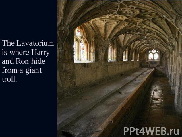 The Lavatorium is where Harry and Ron hide from a giant troll. The Lavatorium is where Harry and Ron hide from a giant troll.
