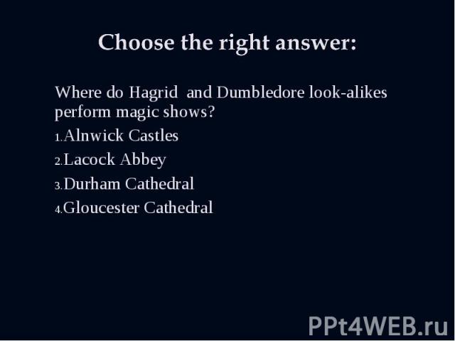 Where do Hagrid and Dumbledore look-alikes perform magic shows? Where do Hagrid and Dumbledore look-alikes perform magic shows? Alnwick Castles Lacock Abbey Durham Cathedral Gloucester Cathedral