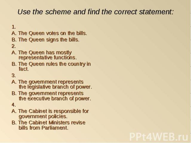 1. 1. A. The Queen votes on the bills. B. The Queen signs the bills. 2. A. The Queen has mostly representative functions. B. The Queen rules the country in fact. 3. A. The government represents the legislative branch of power. B. The government repr…