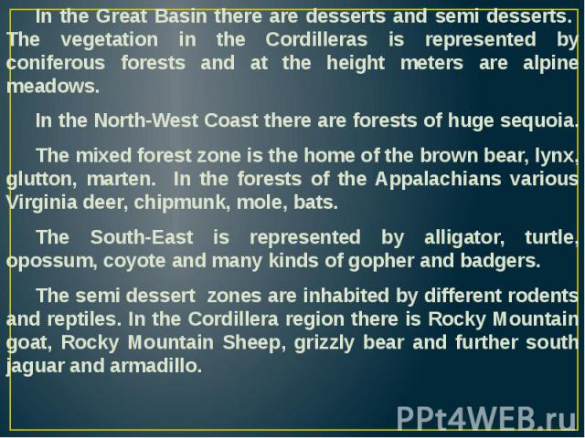In the Great Basin there are desserts and semi desserts. The vegetation in the Cordilleras is represented by coniferous forests and at the height meters are alpine meadows. In the Great Basin there are desserts and semi desserts. The vegetation in t…