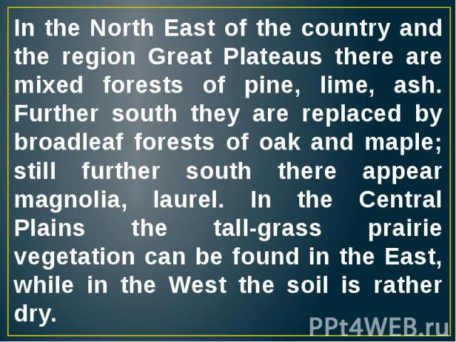 In the North East of the country and the region Great Plateaus there are mixed forests of pine, lime, ash. Further south they are replaced by broadleaf forests of oak and maple; still further south there appear magnolia, laurel. In the Central Plain…