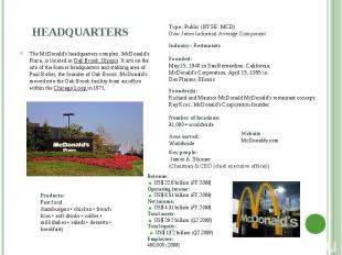 The McDonald's headquarters complex, McDonald's Plaza, is located in Oak Brook,