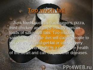 Junk foods such as hamburgers, pizza, fried chicken and chips usually contain lo