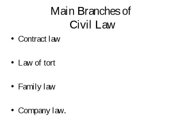 Contract law Contract law Law of tort Family law Company law.