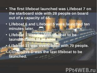 The first lifeboat launched was Lifeboat 7 on the starboard side with 28 people