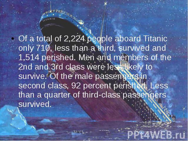 Of a total of 2,224 people aboard Titanic only 710, less than a third, survived and 1,514 perished. Men and members of the 2nd and 3rd class were less likely to survive. Of the male passengers in second class, 92 percent perished. Less than a quarte…