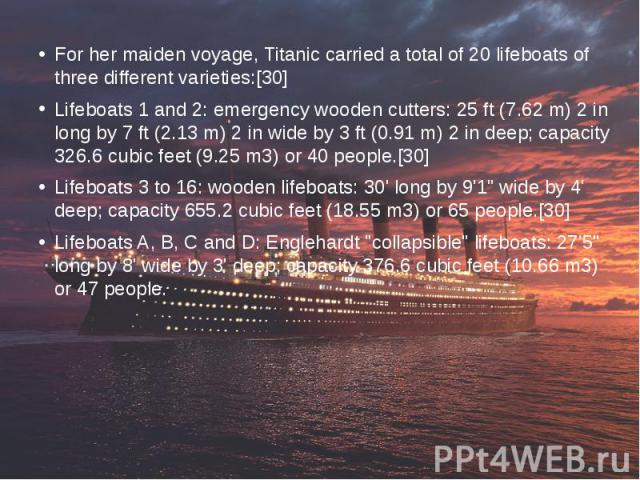 For her maiden voyage, Titanic carried a total of 20 lifeboats of three different varieties:[30] For her maiden voyage, Titanic carried a total of 20 lifeboats of three different varieties:[30] Lifeboats 1 and 2: emergency wooden cutters: 25 ft (7.6…