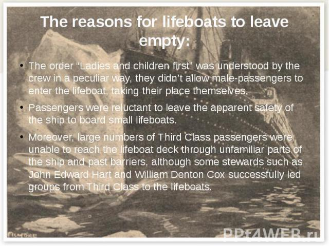 """The reasons for lifeboats to leave empty: The order """"Ladies and children first"""" was understood by the crew in a peculiar way, they didn't allow male-passengers to enter the lifeboat, taking their place themselves. Passengers were reluctant to leave …"""