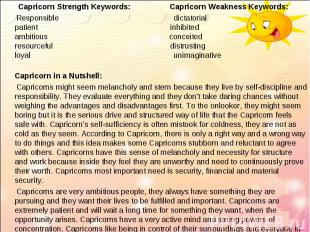 Capricorn Strength Keywords: Capricorn Weakness Keywords: Capricorn Strength Key