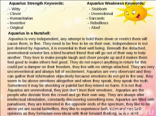 Aquarius Strength Keywords: Aquarius Weakness Keywords: Aquarius Strength Keywor