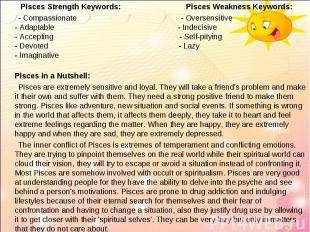 Pisces Strength Keywords: Pisces Weakness Keywords: Pisces Strength Keywords: Pi