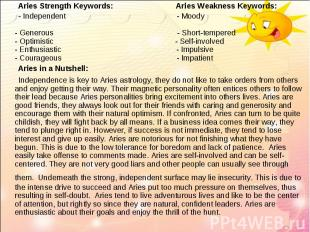 Aries Strength Keywords: Aries Weakness Keywords: Aries Strength Keywords: Aries