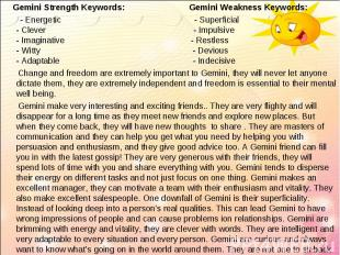 Gemini Strength Keywords: Gemini Weakness Keywords: Gemini Strength Keywords: Ge