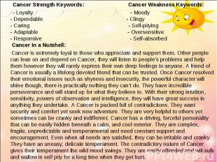 Cancer Strength Keywords: Cancer Weakness Keywords:   Cancer Strengt
