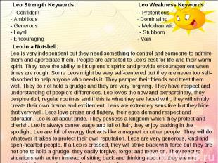 Leo Strength Keywords: Leo Weakness Keywords: Leo Strength Keywords: Leo Weaknes