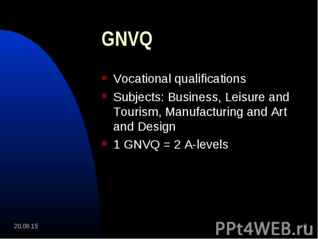 Vocational qualifications Vocational qualifications Subjects: Business, Leisure and Tourism, Manufacturing and Art and Design 1 GNVQ = 2 A-levels