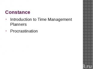 Constance Introduction to Time Management Planners Procrastination
