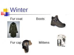 Winter Fur coat Boots Fur cap Mittens