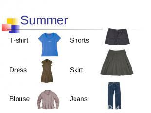 Summer T-shirt Shorts Dress Skirt Blouse Jeans