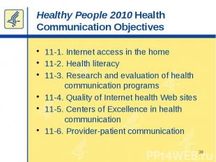 Healthy People 2010 Health Communication Objectives 11-1. Internet access in the