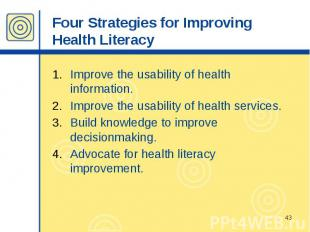 Four Strategies for Improving Health Literacy Improve the usability of health in