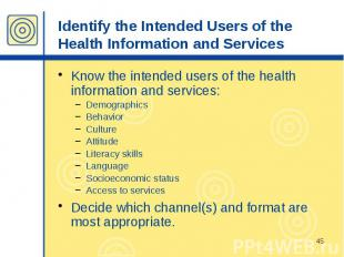 Identify the Intended Users of the Health Information and Services Know the inte