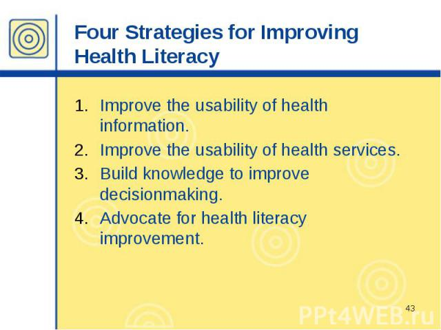 Four Strategies for Improving Health Literacy Improve the usability of health information. Improve the usability of health services. Build knowledge to improve decisionmaking. Advocate for health literacy improvement.