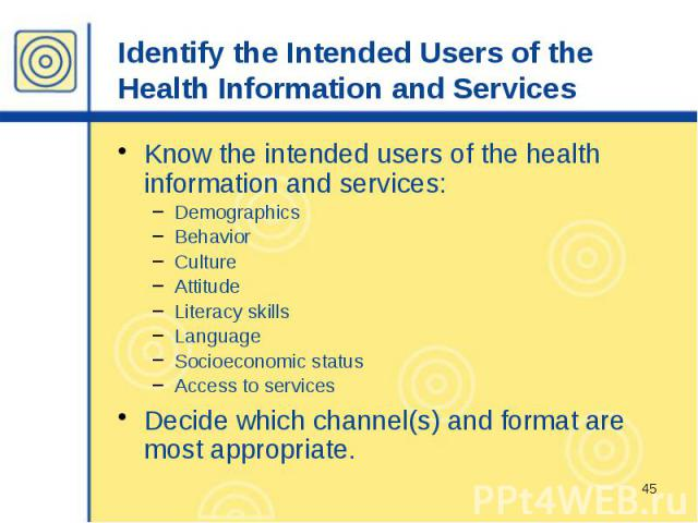 Identify the Intended Users of the Health Information and Services Know the intended users of the health information and services: Demographics Behavior Culture Attitude Literacy skills Language Socioeconomic status Access to services Decide which c…