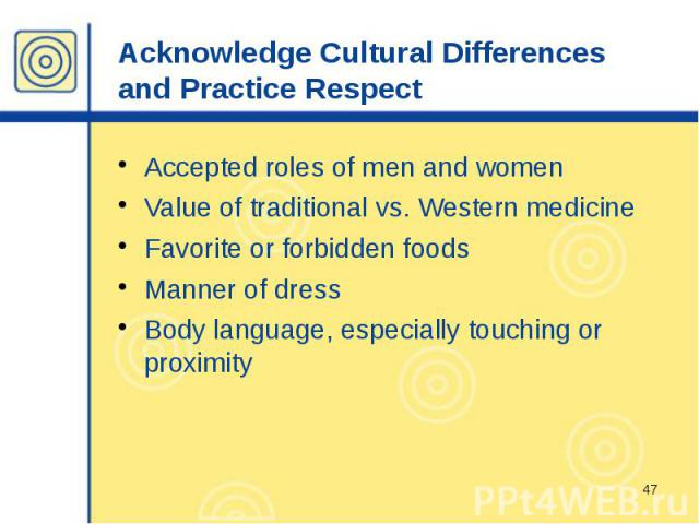 Acknowledge Cultural Differences and Practice Respect Accepted roles of men and women Value of traditional vs. Western medicine Favorite or forbidden foods Manner of dress Body language, especially touching or proximity