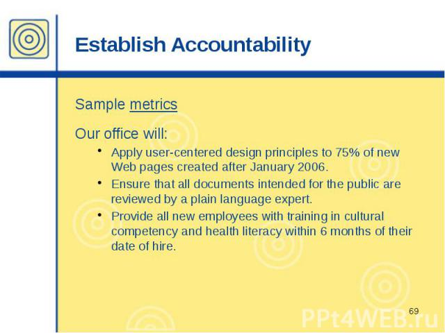 Establish Accountability Sample metrics Our office will: Apply user-centered design principles to 75% of new Web pages created after January 2006. Ensure that all documents intended for the public are reviewed by a plain language expert. Provide all…
