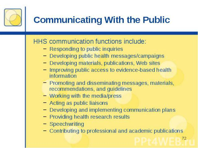 Communicating With the Public HHS communication functions include: Responding to public inquiries Developing public health messages/campaigns Developing materials, publications, Web sites Improving public access to evidence-based health information …