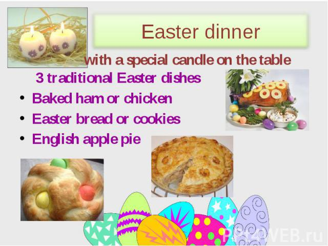 3 traditional Easter dishes 3 traditional Easter dishes Baked ham or chicken Easter bread or cookies English apple pie