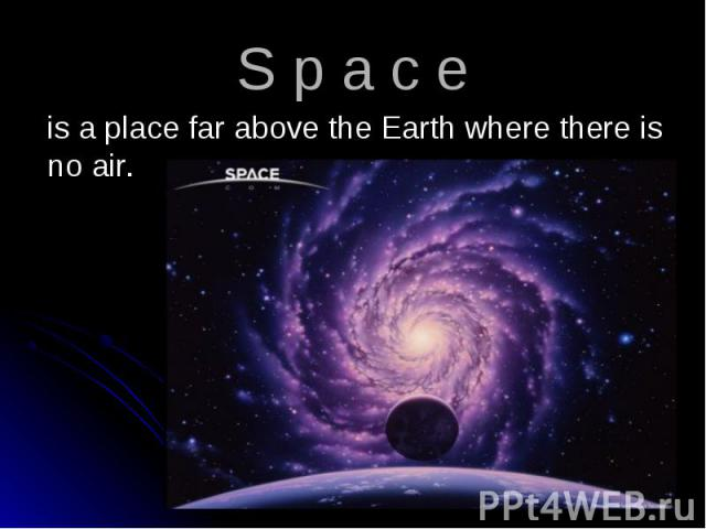 is a place far above the Earth where there is no air. is a place far above the Earth where there is no air.